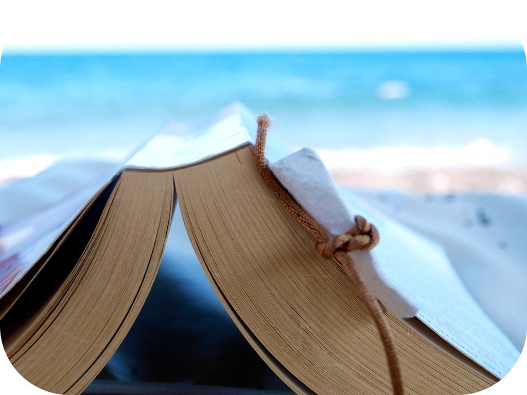 Open book, pages facing down, in front of an ocean view
