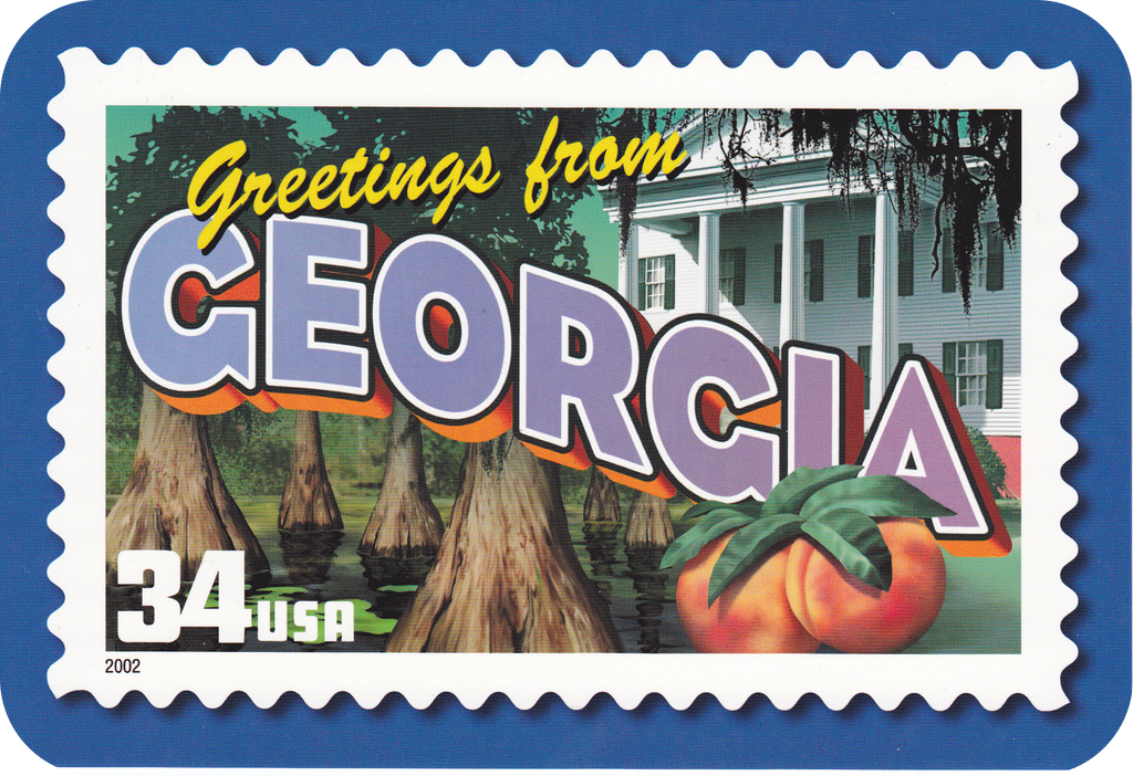 "Postcard saying ""Greetings from Georgia"""