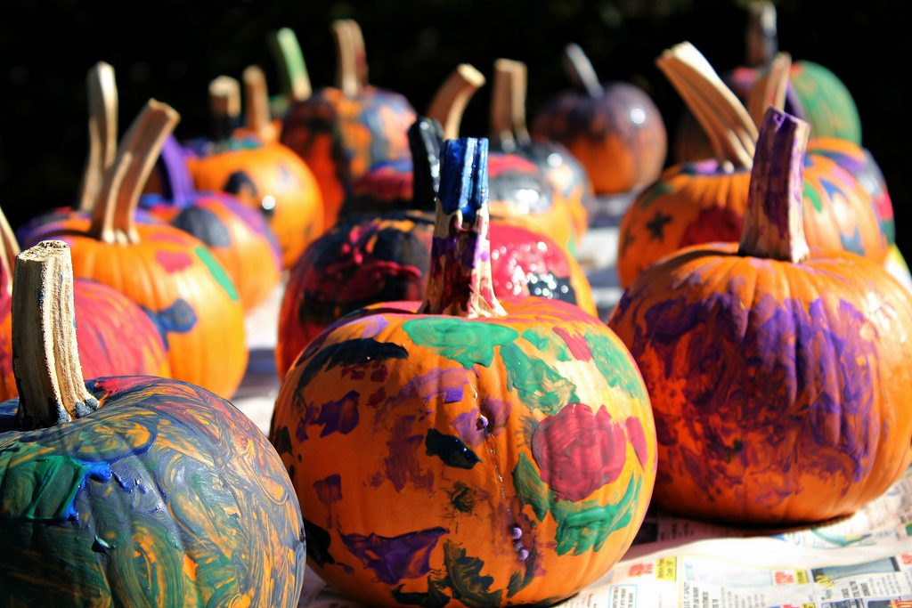 Pumpkins splash with paint