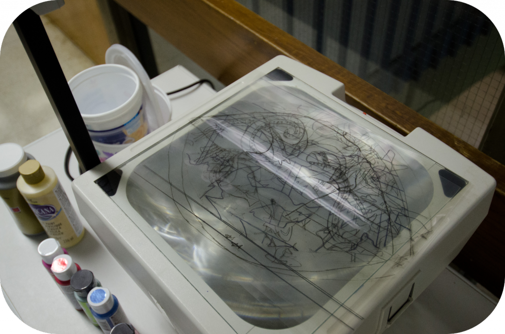 Overhead projector, transparency film, paint