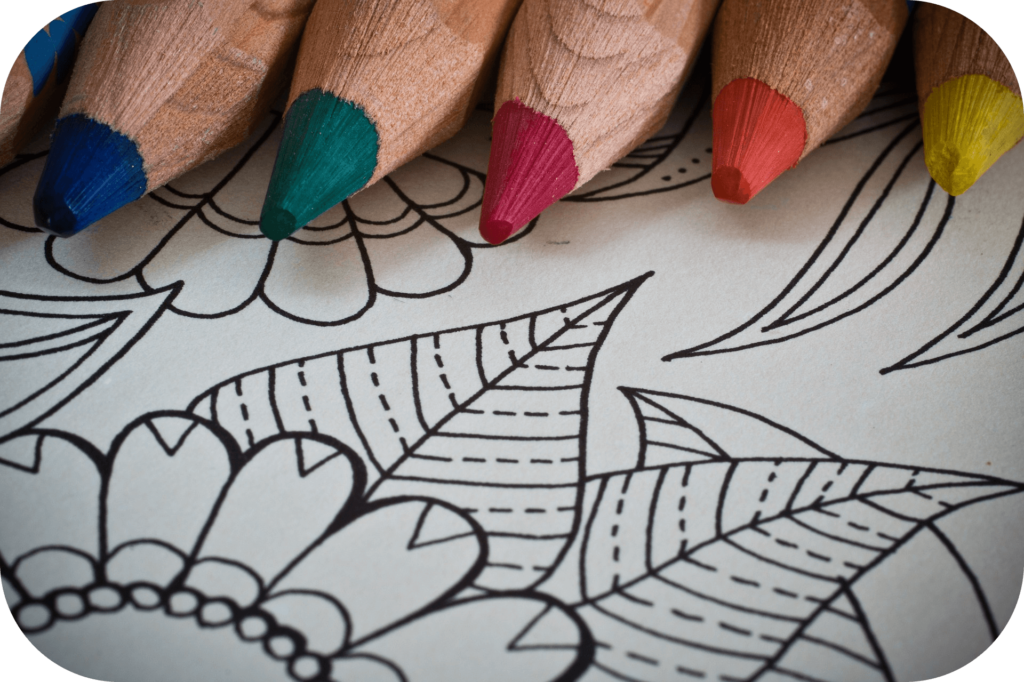 Coloring page with coloring pencils