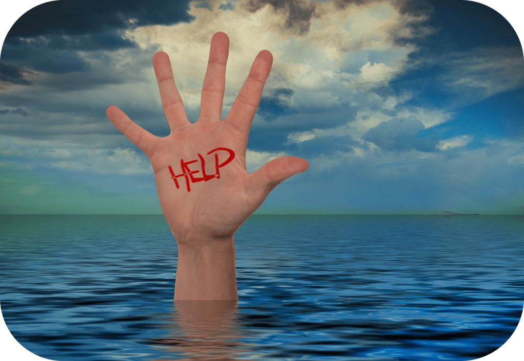 Hand, ocean, cry for help