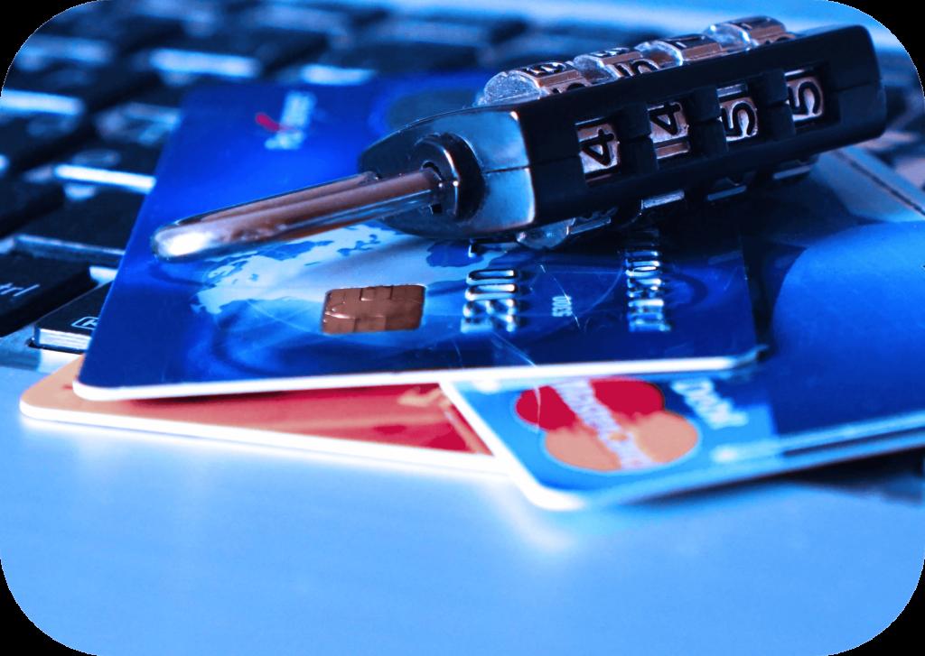 Keyboard, credit cards, lock