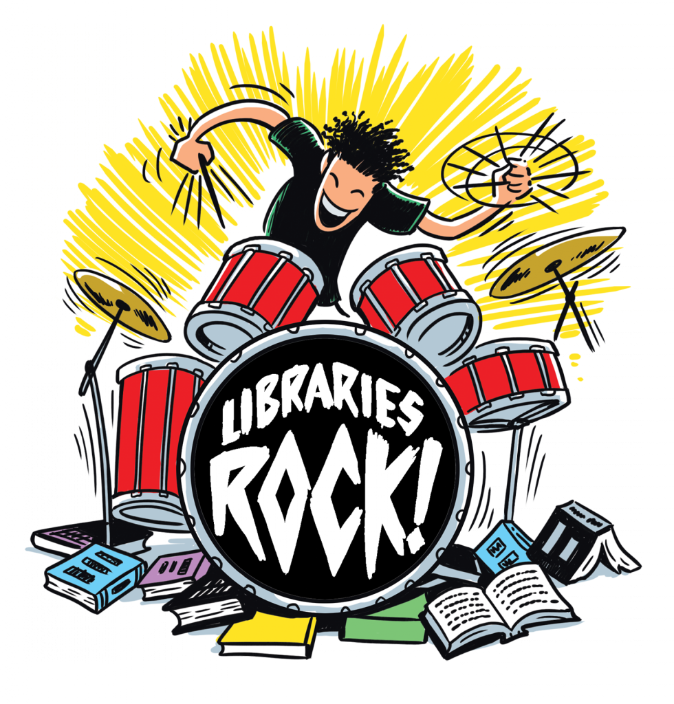 Libraries Rock slogan, books, drummer, drums