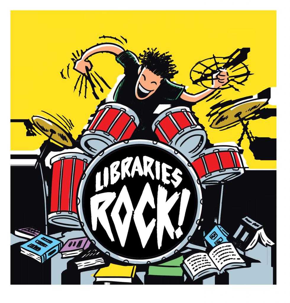 Libraries Rock slogan, books, drummer, drums
