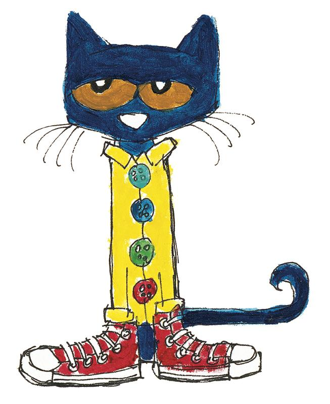 Cartoon cat dressed in a yellow coat and red shoes