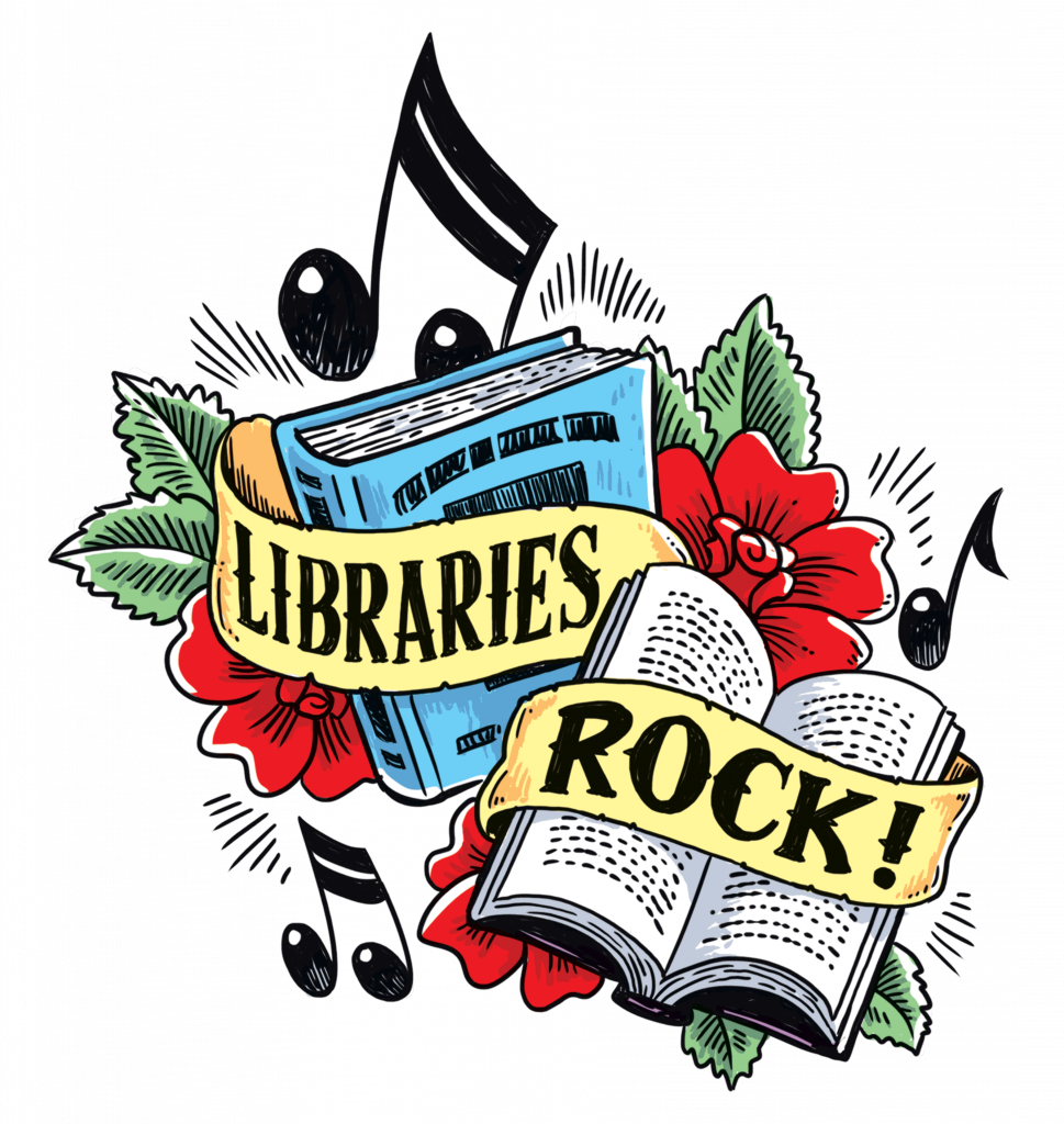 Libraries Rock slogan, books, flowers, musical notes
