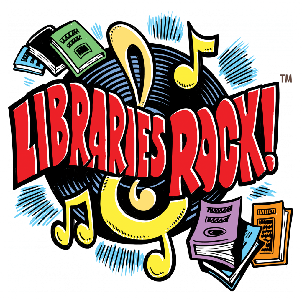 Libraries Rock slogan, books, vinyl record, musical notes