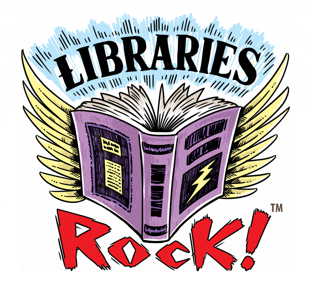 Purple book with wings, Libraries Rock slogan