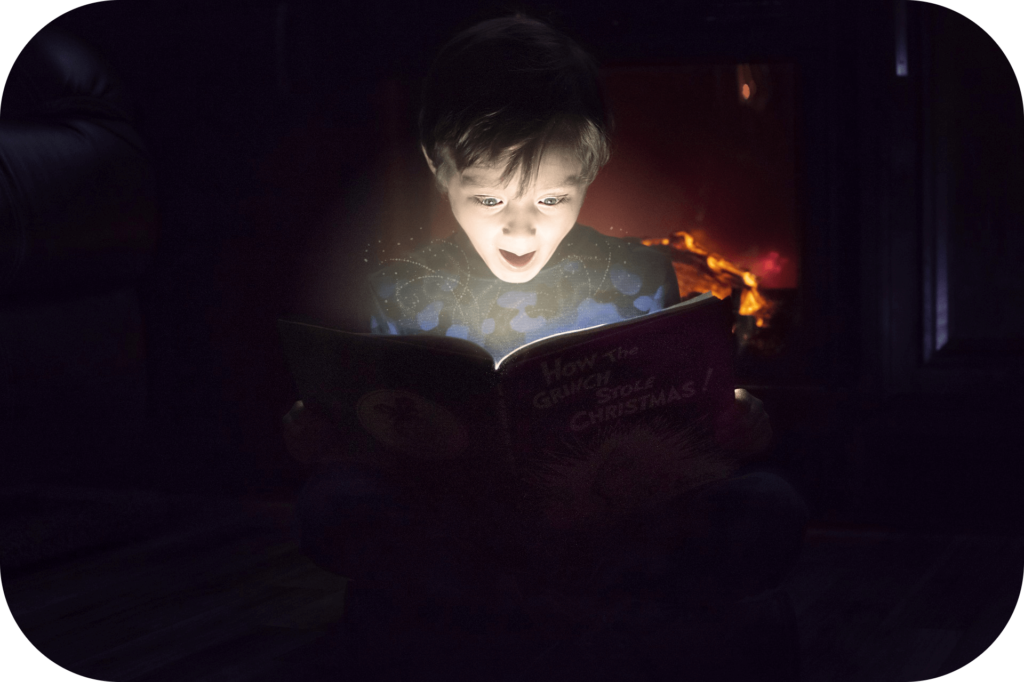 Book, child, reading, delight, glow