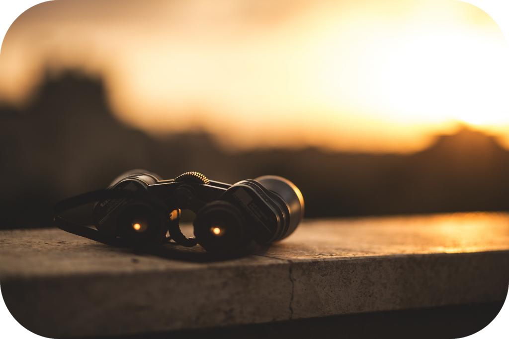 Binoculars, sunset