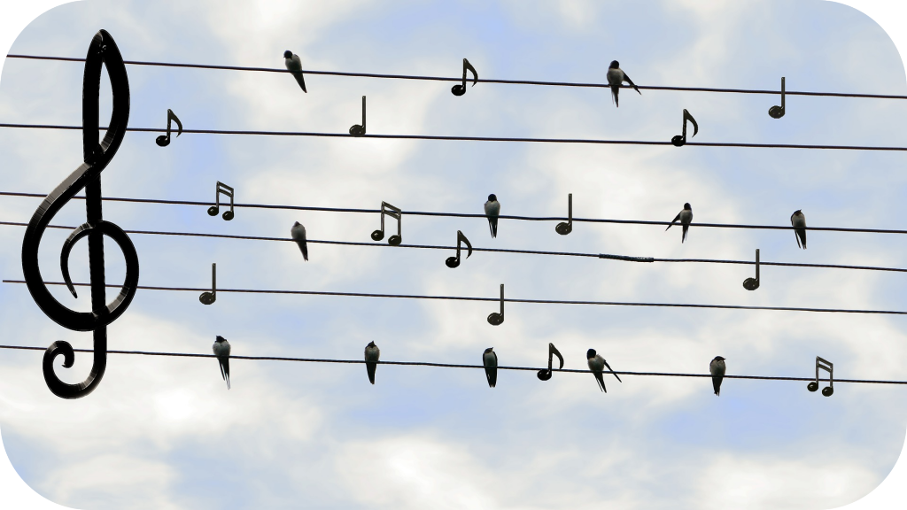 Birds, power lines, musical notes