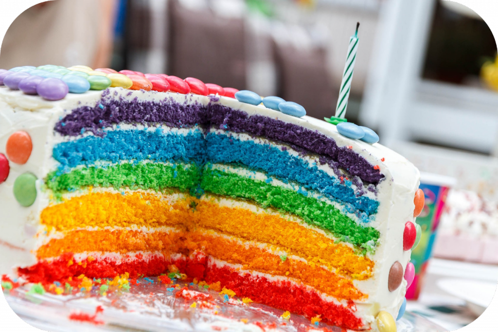 Cake with rainbow layers