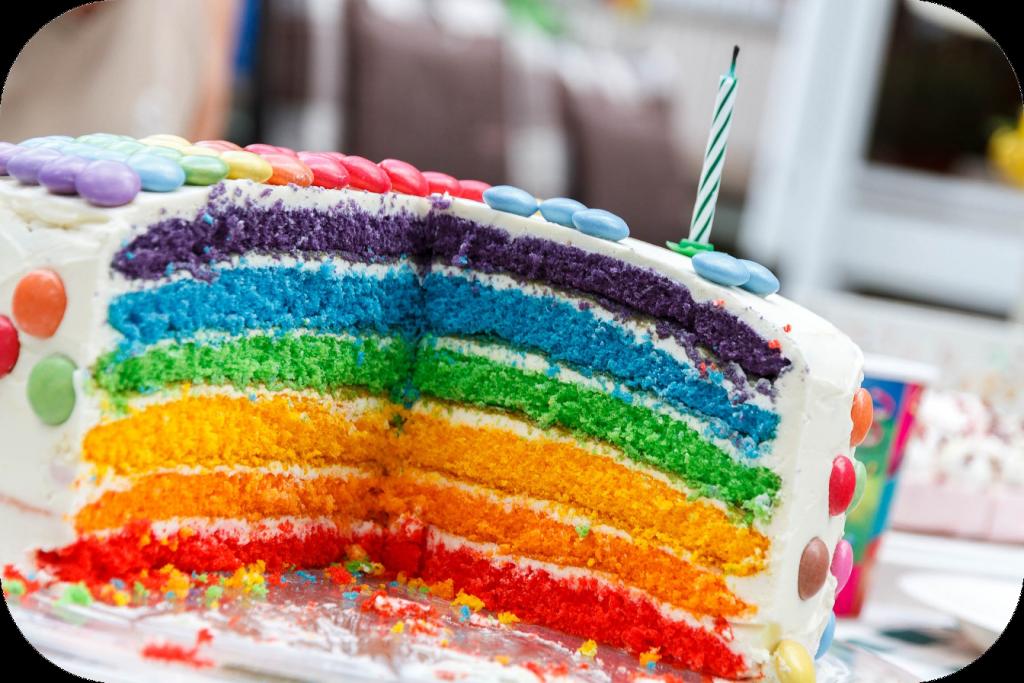 Cake with rainbow layers