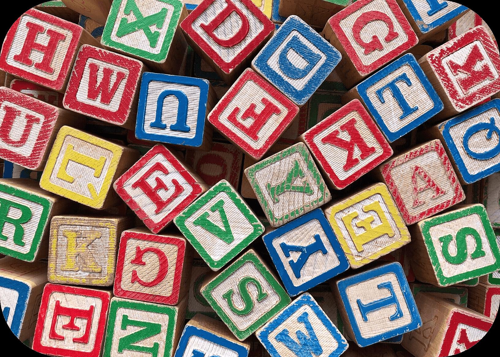 Wooden building blocks, alphabet