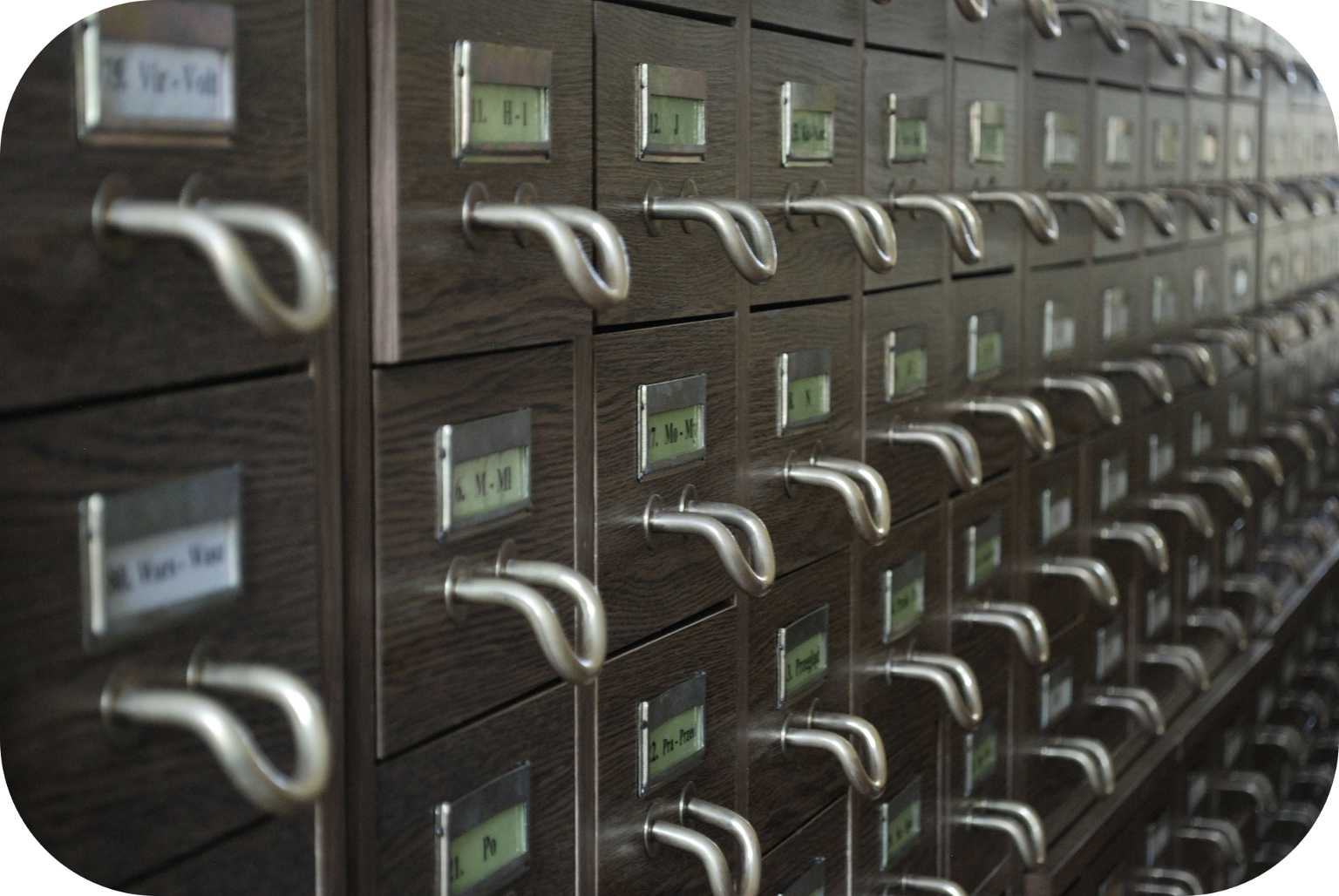 Row of library card catalog drawers