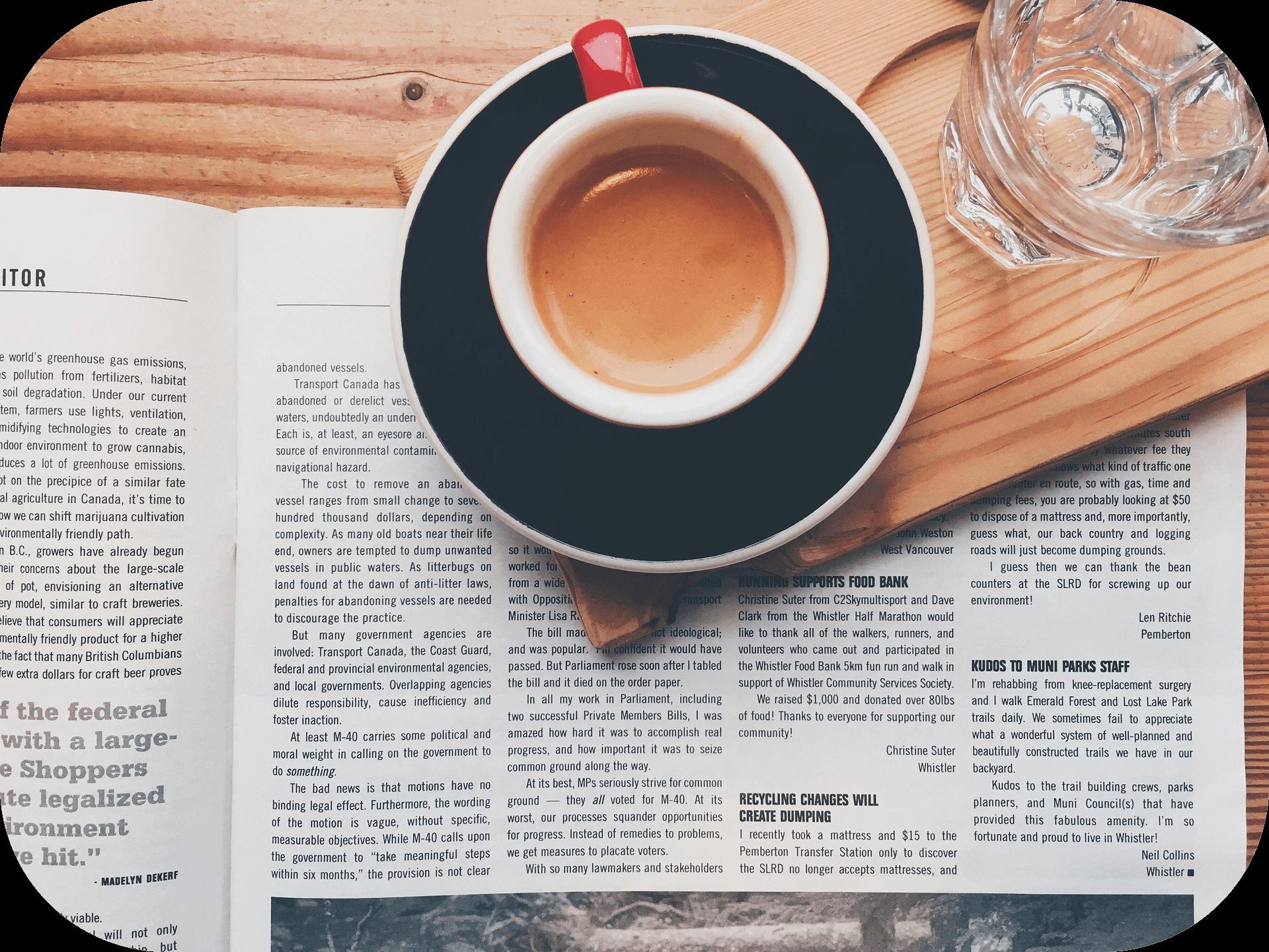 Glass, cup, saucer, coffee, newspaper