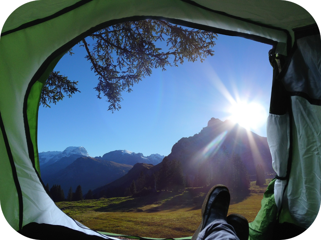 Camping, tent, sunlight, mountain