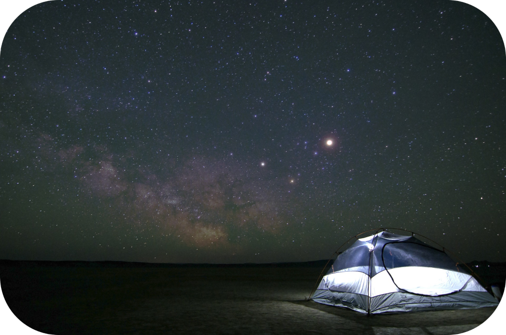 Camping, tent, stars
