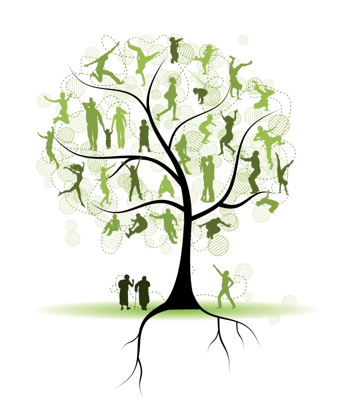 Drawing of a tree with people standing in the branches, family tree