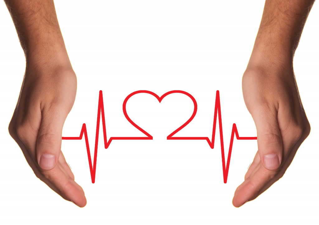 Two hands, heart, heartbeat