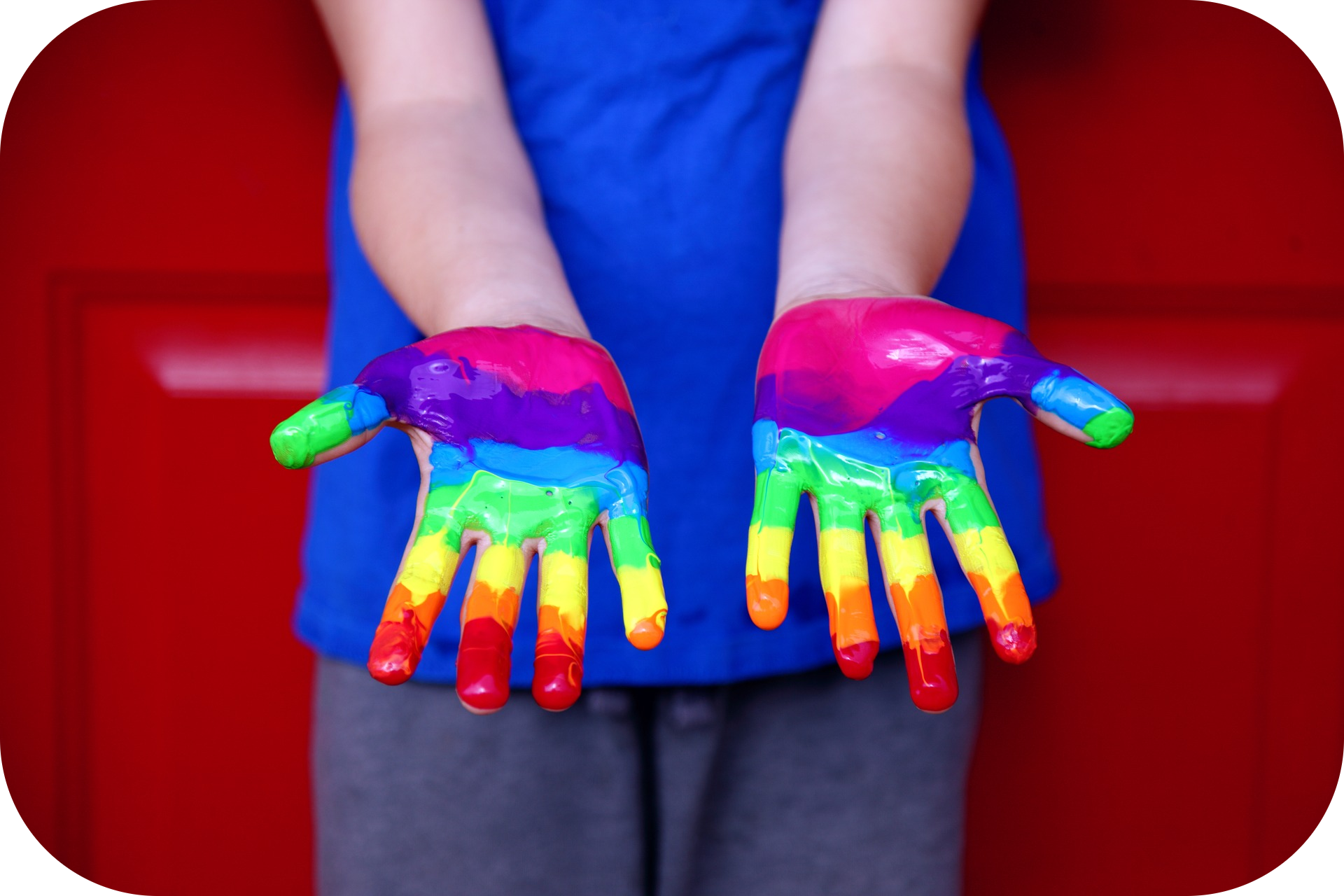 Child, hands, rainbow paint