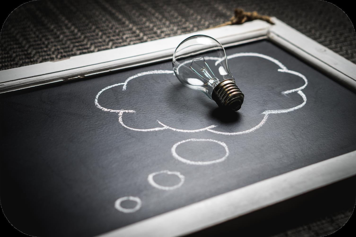 Lightbulb, chalkboard, thought bubble