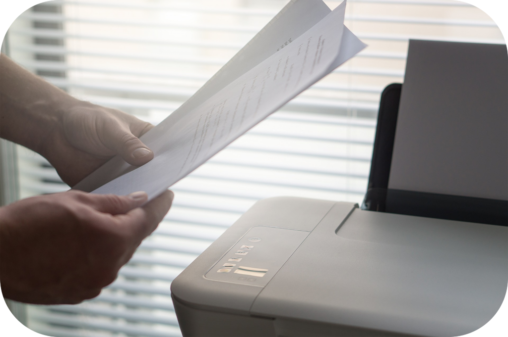 Document scanner, papers, hands