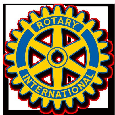 Rotary Club logo, gear, gold, blue