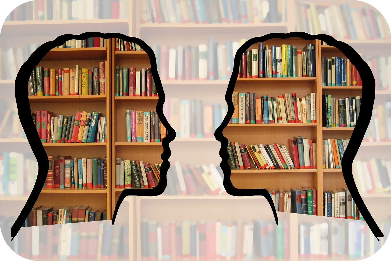Book shelf with two silhouettes superimposed over it
