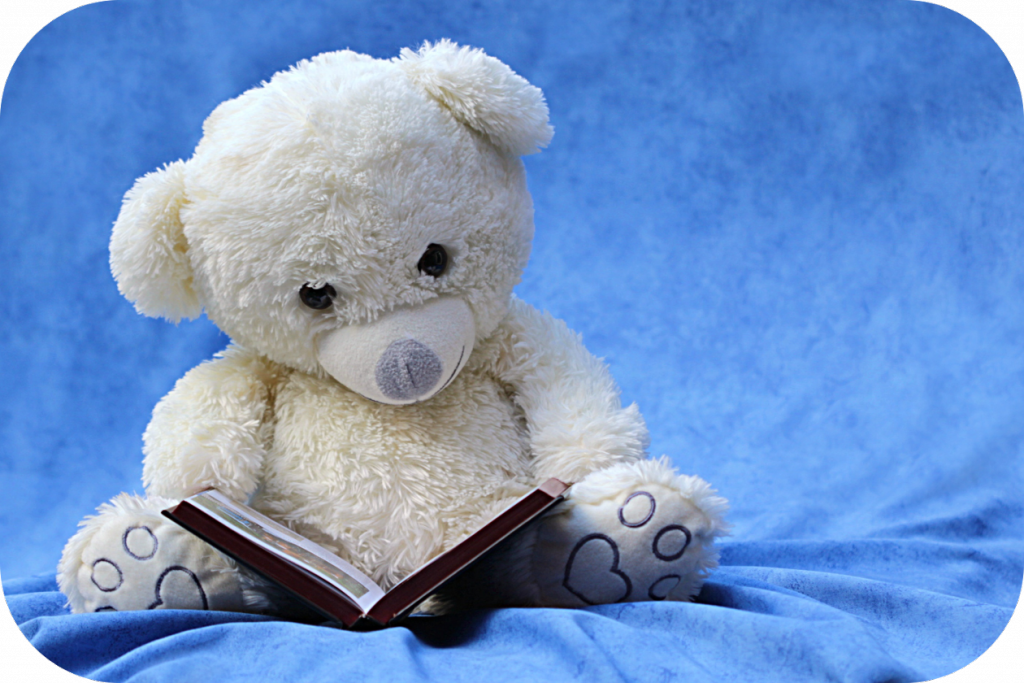 White teddy bear, book