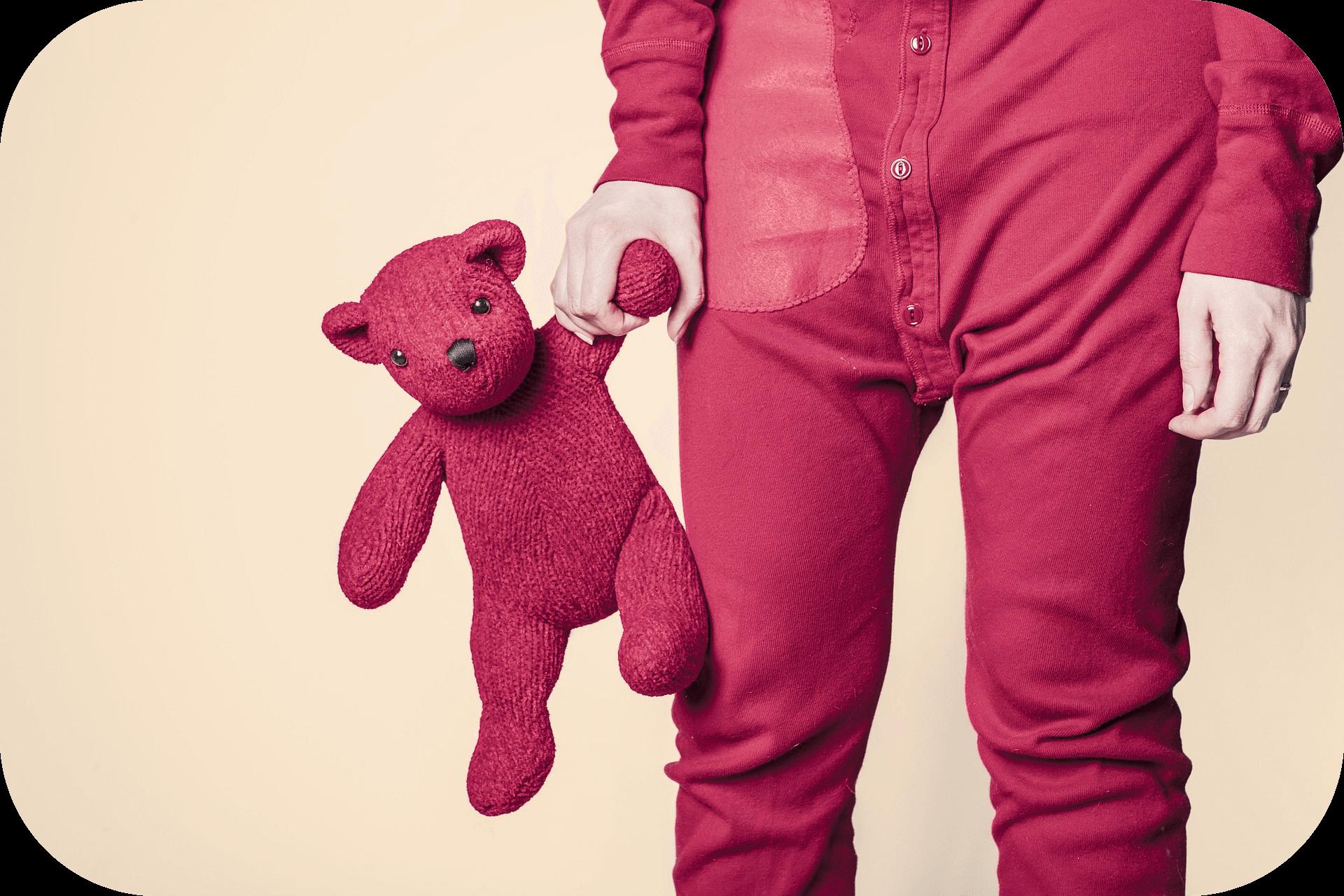 Child, pajamas, teddy bear