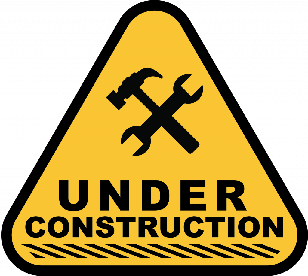 Caution sign reading under construction